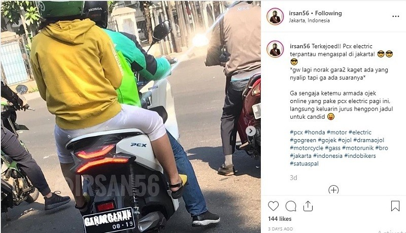 Honda PCX Electric Ojek Online Posting Instagram